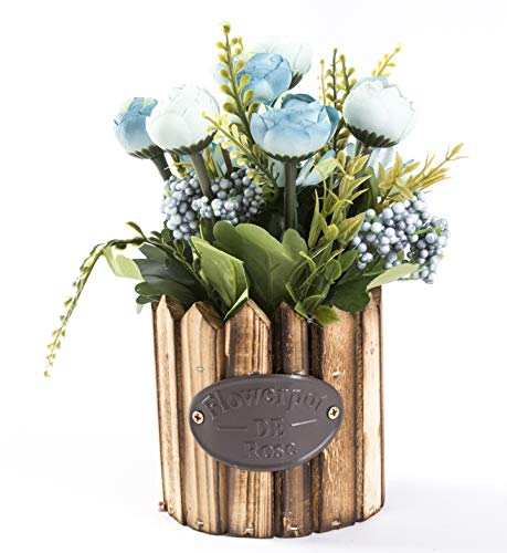 LODESTAR Artificial Flower in Wood Pot Mini Fake