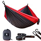 Anyoo Double Camping Hammock Lihgtweight Portable Parachute Hammock with Heavy Duty Tree Straps&Carabiners-Hiking Backpacking Travel Adventure Yard Beach
