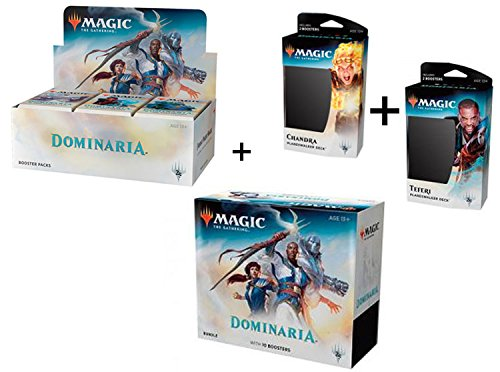 Magic Dominaria Booster Box + Bundle + Both Planeswalker Decks MTG Card Game