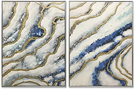 Amazon Com 3hdeko 3d Blue Gold Abstract Canvas Wall Art 48x32inch 100 Hand Painted Geode Agate Marble Painting For Living Room Bedroom Large 2 Piece Modern Home Decor Ready To Hang Silver