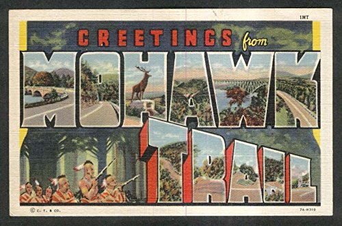 Greetings from Mohawk Trail MA Large Letter postcard 1930s