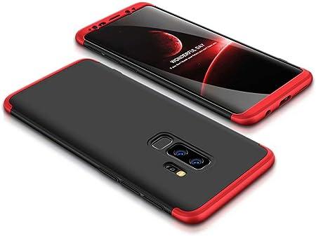 JOYTAG Compatible Coque Samsung Galaxy S9 Plus Rouge Noir 360 degrés Très Mince Tout Inclus Protection 3 dans 1 boîtier PC téléphone Case Cover-Rouge ...