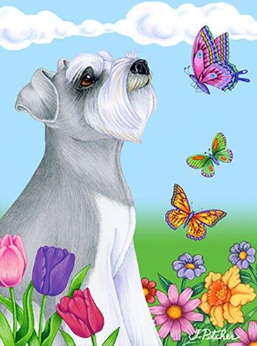 Schnauzer Garden Flag - Schnauzer Grey Uncropped - Best of Breed Butterfly Garden Flag
