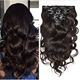 Moresoo 100% Capelli Veri Extension Clip in Hair Extensions Wave Hair 7 pcs 120g