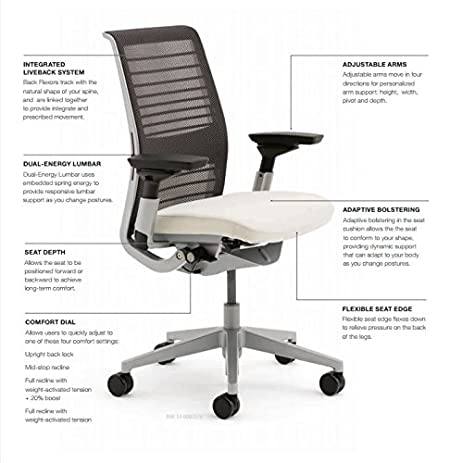 amazon com steelcase think task chair fixed lumbar support 4 d