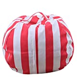 HYDE US Stuffed Animal Bean Bag, Toy Storage Bag, 100% Cotton Canvas Machine Washable, Great for Covers Plush Toys Towels Clothes to Make a Bean Bag Chair (Red/White Stripe, 38 in)