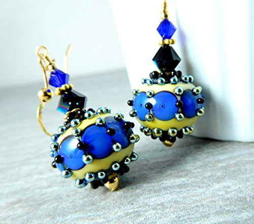 Bumpy Round Beads - Navy Blue Black Beige Unusual Bumpy Glass Bead Dangle Earrings
