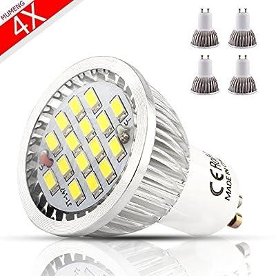 MUMENG 6W 500LM GU10 Base LED Landscape Bulbs 6500K Cool White Bulb 110V Replaces 50W Halogen 120 Degree Beam Angle for Track Lighting, Landscape Lighting Pack of 4 Units