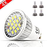 MUMENG 6W 500LM GU10 Base LED Landscape Bulbs 6500K Cool White Bulb 110V Replaces 50W Halogen 120 Degree Beam Angle for Track Lighting, Landscape Lighting Pack of 4 Units