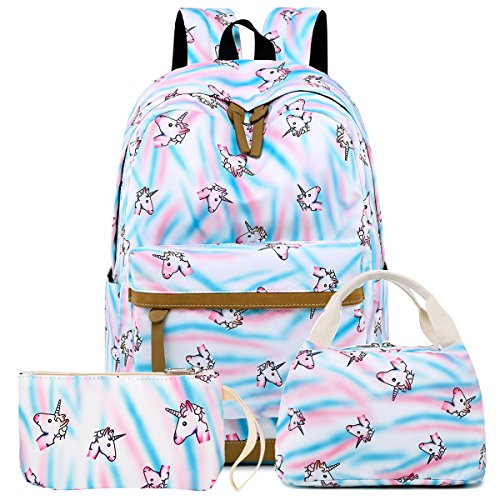 2fdb617db4 Galleon - BLUBOON Backpack For School Girls Teens Bookbag Set Kids Laptop  Backpack Lunch Box Purse (White- Rainbow Unicorn Set)