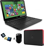 "HP 15-f014wm Notebook Bundle/ AMD Quad-Core A8-6410 APU/15"" Touchscreen/750GB HD/4GB DDR3L SDRAM"