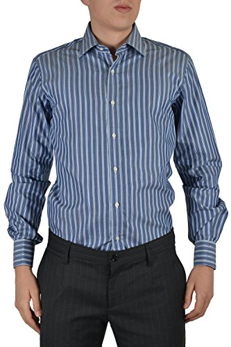 Etro Men's Blue Striped Long Sleeve Dress Shirt Size US 15.5 IT 39