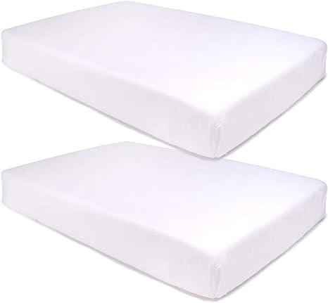 PEKITAS PACK 2 Sábanas Bajera Ajustable Protectora Cuna 60x120 cm 100% Algodón Blanco: Amazon.es: Bebé