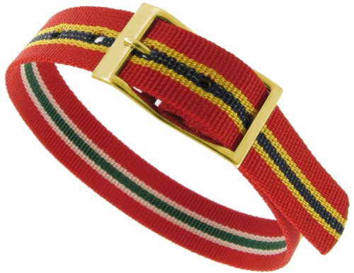 12mm Milano Slide Through Sports Wrap Nylon Textile Red Black Yellow Stripe Reversible Watch Band Strap, Watch Central