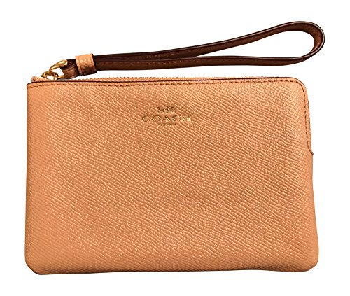 Coach Crossgrain Leather Glitter Corner Zip Wristlet, Nude ()