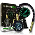 """Rhino USA Heavy Duty Tire Pressure Gauge - Certified ANSI B40.1 Accurate, Large 2"""" Easy Read Glow Dial, Solid Brass Hardware, Best for Any Car, Truck, Motorcycle, RV"""