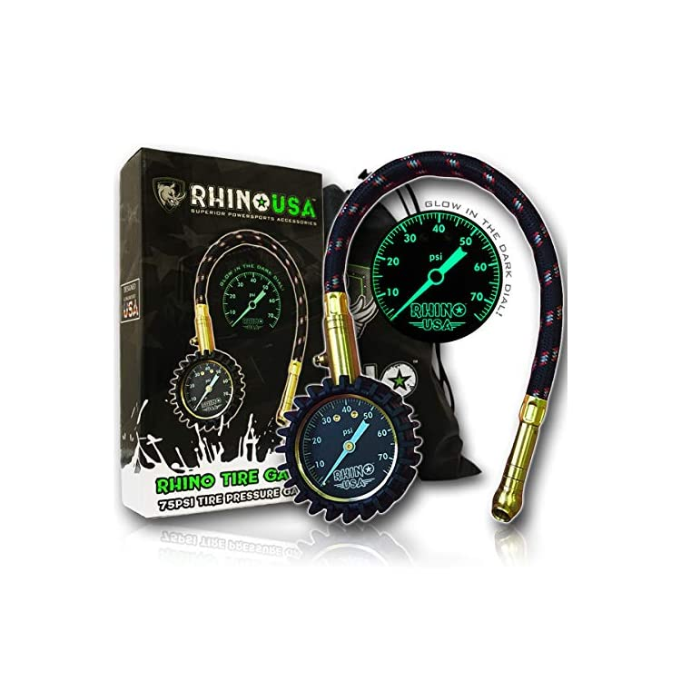 Rhino USA Heavy Duty Tire Pressure Gauge (0-75 PSI) – Certified ANSI B40.1 Accurate, Large 2 inch Easy Read Glow Dial, Premium Braided Hose, Solid Brass Hardware, Best for Any Car, Truck, Motorcycle