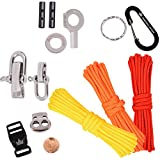 The Friendly Swede DIY Paracord Kit - With 3 X Cords + 10 X Essential Accessories to Make Your OWN Survival Paracords, with Basic Instructions + (Red/Yellow/Orange)
