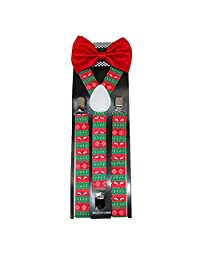 CTM® Men's Solid Bow Tie with Christmas Suspender Holiday Set, Red Christmas Set