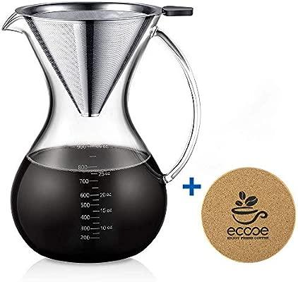 Ecooe Juego de Cafetera tipo Pour-Over con Filtro Extraíble de Acero Inoxidable, y Generosa Capacidad de 1000 ml / 35 oz para Compartir