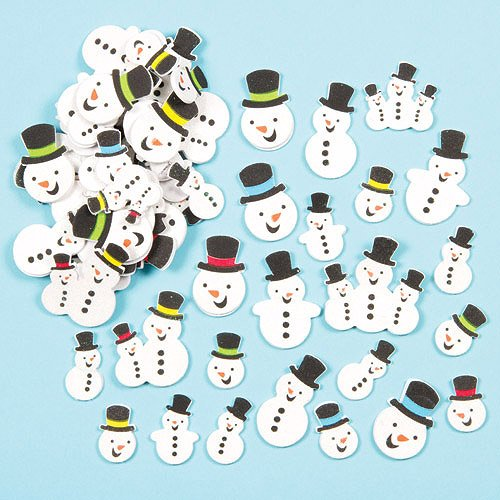 Snowman Glitter Foam Stickers for Children to Decorate Cards Crafts and Collage (Pack of (Snowman Dip Set)