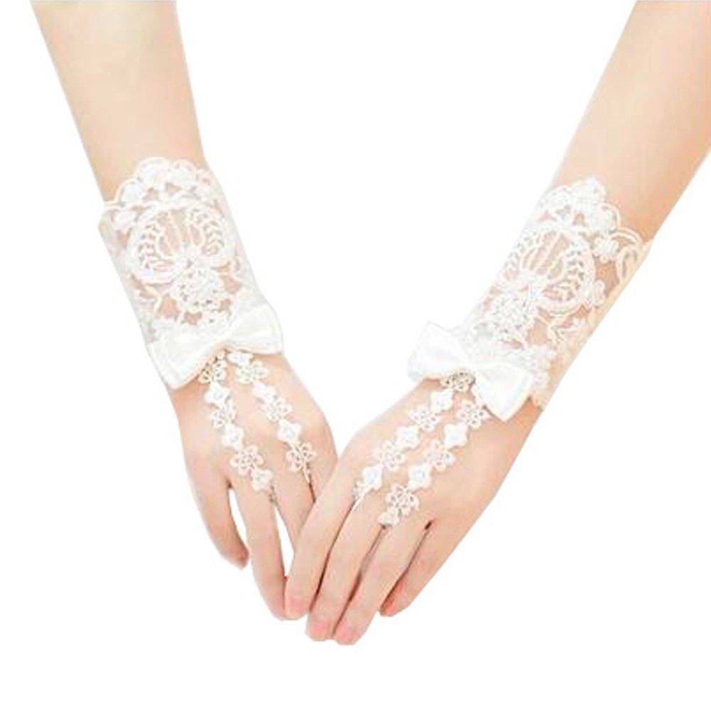 Elegant Lady Formal Banquet Party Bride Pierced Lace Wedding Gloves Bridal Gloves, NO.19