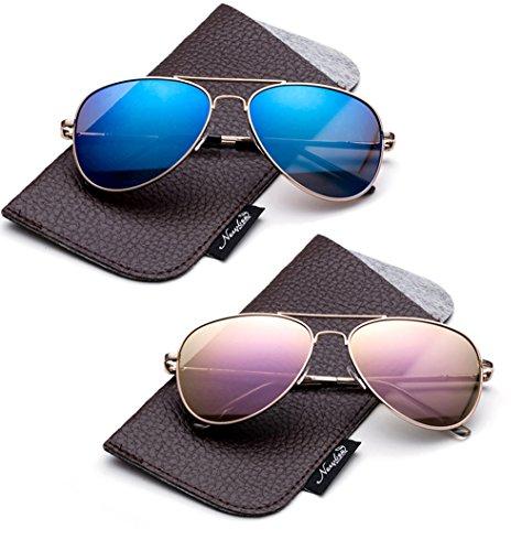 9bc843a37b Newbee Fashion-Polarized Kids Teens Juniors Aviator Polarized Sunglasses  Stainless Steel Frame Spring Hinge Kids