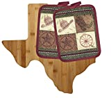 Texas Kitchen Decor Cutting Board with Cowboy Potholders (3 Item Bundle)