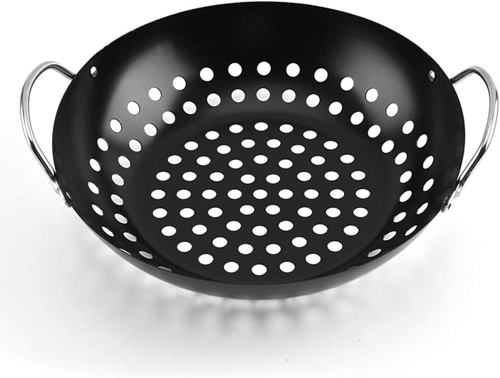Generic Brands Non-stick BBQ Grill Tray Griddle Plate Small Round Grill Basket with Large Holes Bbq Accessories Gifts
