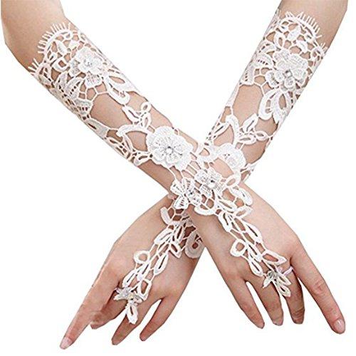 Lady Hand-Woven Flowers Long Lace Fingerless Rhinestone Bridal Gloves Bride Pierced Wedding Gloves Gift (White)