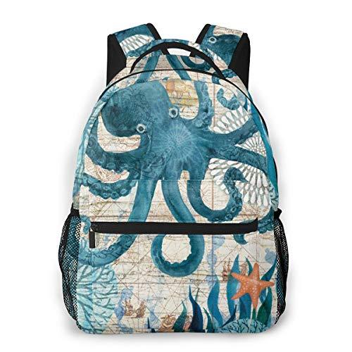 Boys Grils Backpck Back To School Gift - Retro Octopus Art Shoulder Bag School Shoulder Book Bags Travel Hiking Daypack, Casual Daypack Climbing Shoulder Bag