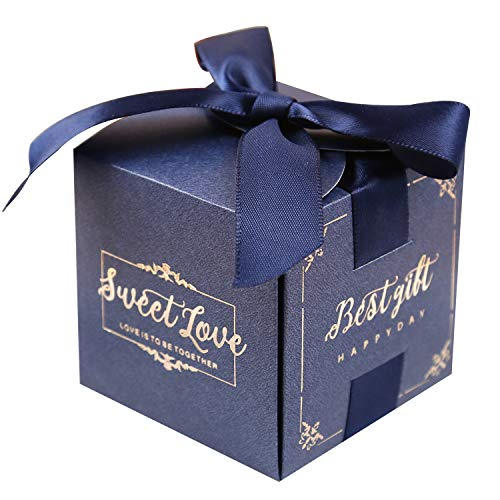 Doris Home 50 pcs Birthday Wedding Party Favor, Wedding Gift Bags Chocolate Candy and Gift Boxes Bridal Shower Party Paper Gift Box Pink Boxes with Ribbons(Pink) (Navy Blue 2.5 * 2.5 * 2.5 inch)