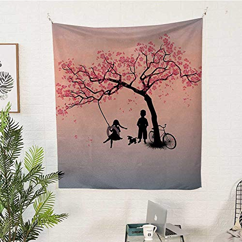 Cherry Outdoor Swing - sunsunshine Tree-of-Life Bedroom Tapestry Children-Playing-on-a-Tire-Swing-Under-Cherry-Tree-with-Dog-Blossom-Spring-Art Gorgeous Tapestry 70W x 93L INCHPink-Black