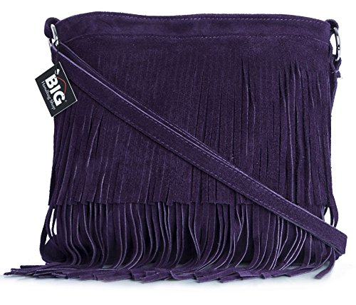 Big Handbag Shop Womens Suede Leather Tassle Fringe Shoulder Bag (Deep (Deep Purple Leather Handbags)