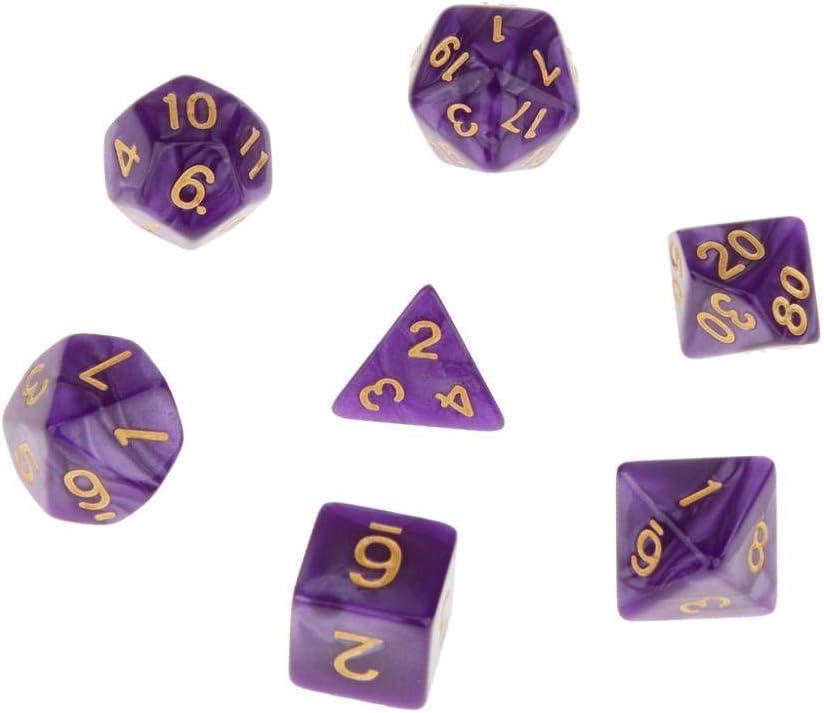 LDYGHome Dados Set para Dragones Y Mazmorras D&D, Dado Poliédrico Y De rol, 7Pcs Golden Púrpura Double-Colors Plástico D20 D12 D10 D8 D6 D4 Dados para Juego De Mesa: Amazon.es: Hogar