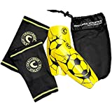 American Challenge Serie A Shin Guard with Compression Sleeve (Yellow, Large)