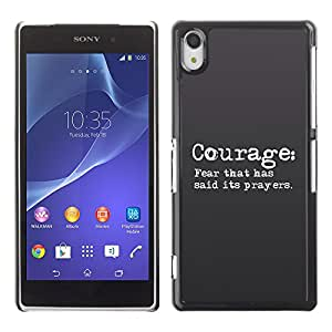 Jesus Designs Slim Case Cover Bible Series Sony Xperia Z2 / COURAGE: FEAR THAT HAS SAID ITS PRAYERS /
