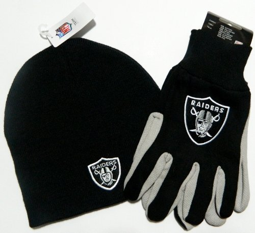 Oakland Raiders Glove Hat Set