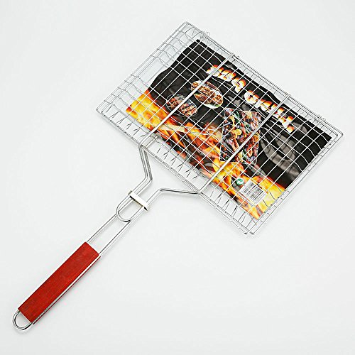 Kaiyu Portable Stainless Steel Non-stick Mesh Wood Handle Grilled Fish Barbecue Clip Net Outdoor Burgers BBQ Tools Grills (Size : Big) -