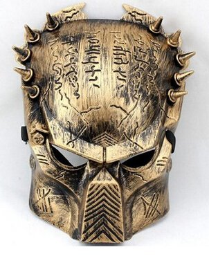 [DLLL Alien Vs Predator: Predator Warrior Movie Costume Mask Melody Venetian Mardi Gras Masquerade Halloween Super Replica Alien Vs Predator Warrior Movie Costume Mask handmade plastic Bronze] (Melody Costume)