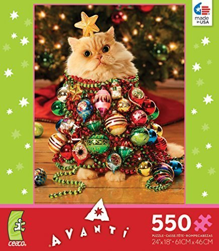 Christmas Tree Kitten - Cat Dressed up As Christmas Tree - 550 Pieces Jigsaw Puzzle - 18