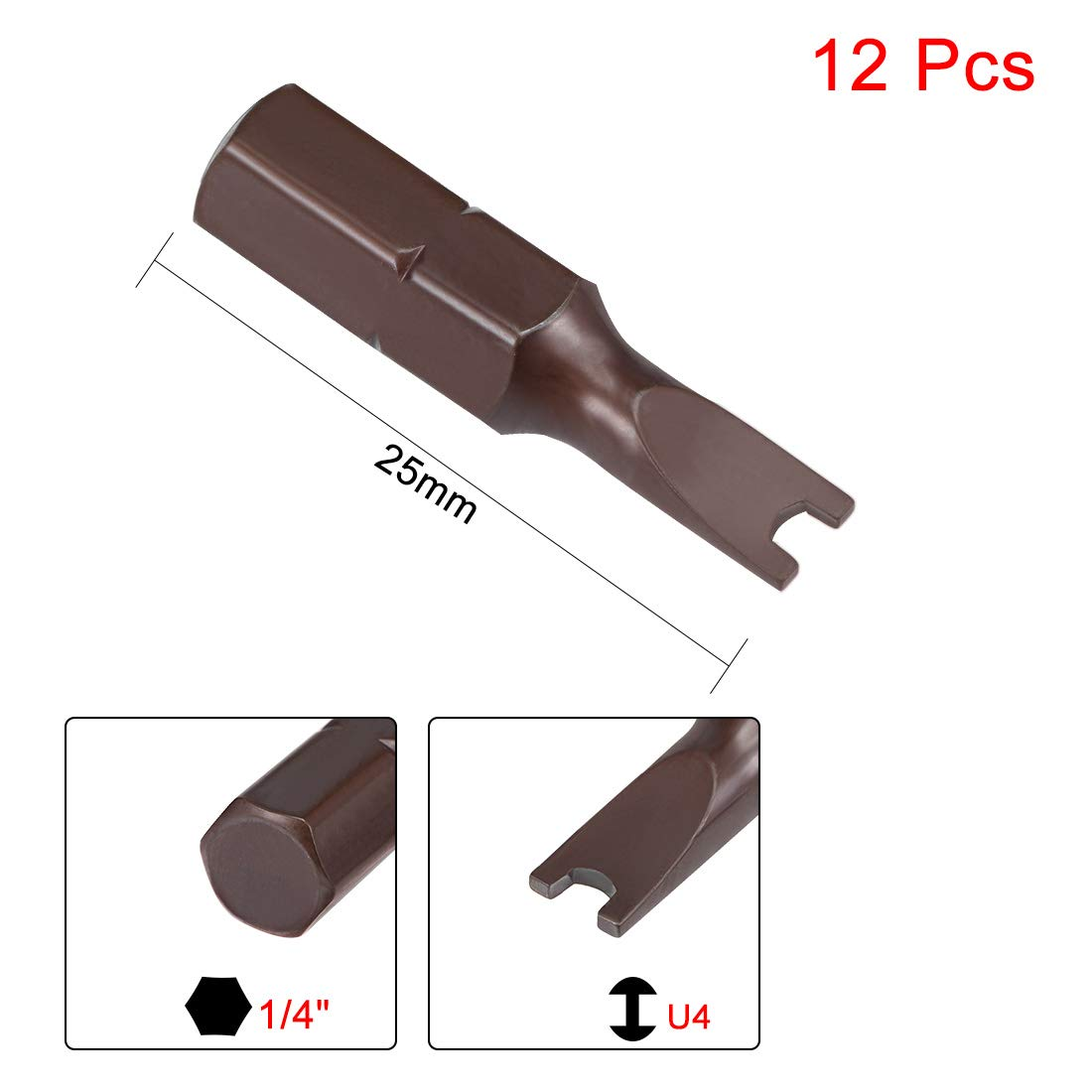 uxcell 12pcs 25mm Length 1//4 Hex Shank U6 U Shape High Quantity Screwdriver Bits S2 High Alloy Steel