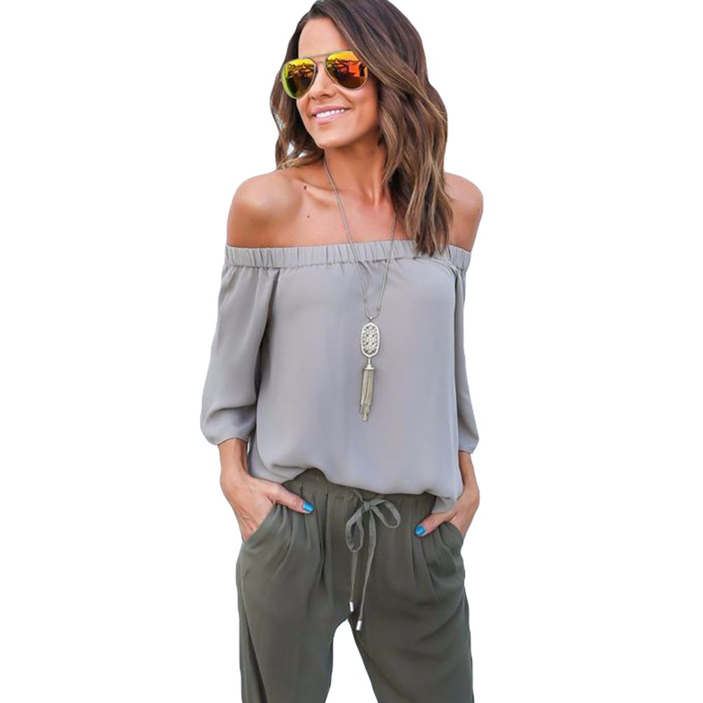 ZhiYuanAN Damas Blusa Camiseta Cuello Barco Mangas Largas Blusa Sin Hombros Con Escote Remata: Amazon.es: Ropa y accesorios