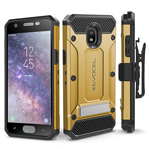 Galaxy J7 2018 / J7 Refine / J7 V 2nd Gen / J7 Star Case, Evocel [Explorer Series Pro] Premium Full Body Case w/Glass Screen Protector, Belt Clip, Metal Kickstand for J7 Top / J7 Crown, Gold -