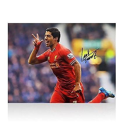 85592c405d5b4 Luis Suarez Signed Photo - Celebration vs Everton Autograph ...