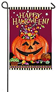 Evergreen Happy Halloween Candy Suede Garden Flag, 12.5 x 18 inches