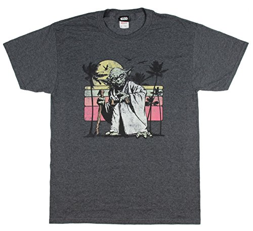 Star Wars Yoda Tropical Paradise Distressed Graphic Men's T-Shirt (Charcoal Heather, (Star Wars Distressed T-shirt)