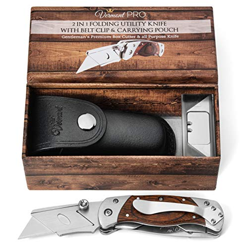Utility Knife Folding Box Cutter - Best Work Knife with Clip. 2 in 1 Serrated all Purpose Blade. Wooden Handle. Includes Leather Sheath and 5 Extra Razor Blades. Great Gift - For Cutter Holster Box Leather