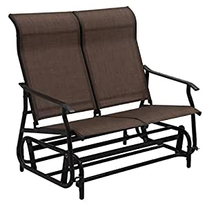 Tan Patio Glider Rocking Bench Double Chair Capacity 528 Lbs