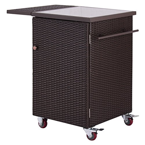 Brown Rattan Wicker Rolling Kitchen Trolley Storage Dining Cart With 2 Baskets Tempered Glass Tabletop Garden Home Kitchen Patio Outdoor Yard Backyard Furniture Solid Steel Frame Large Storage Space